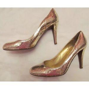 J CREW HARPER crackle gold leather pumps shoes 7.5